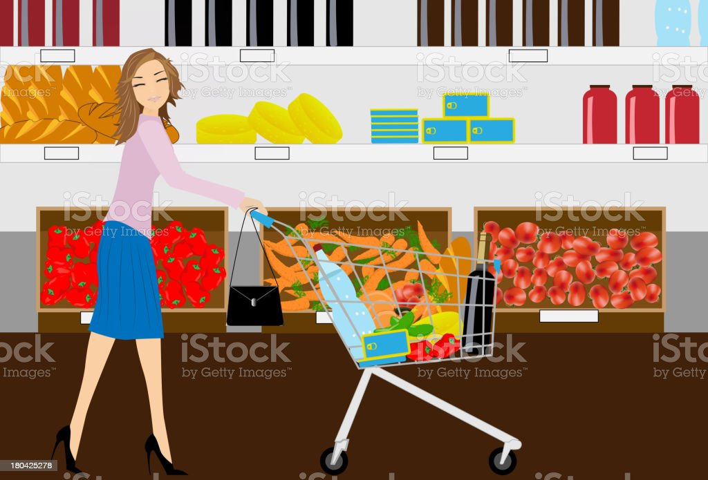 the woman in grocery shop vector royalty-free stock vector art