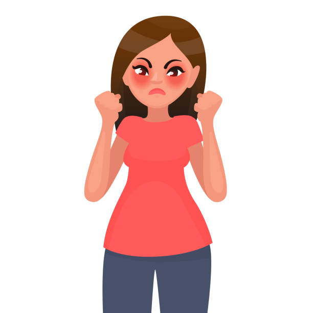 The woman is angry. Discontent. Vector illustration vector art illustration