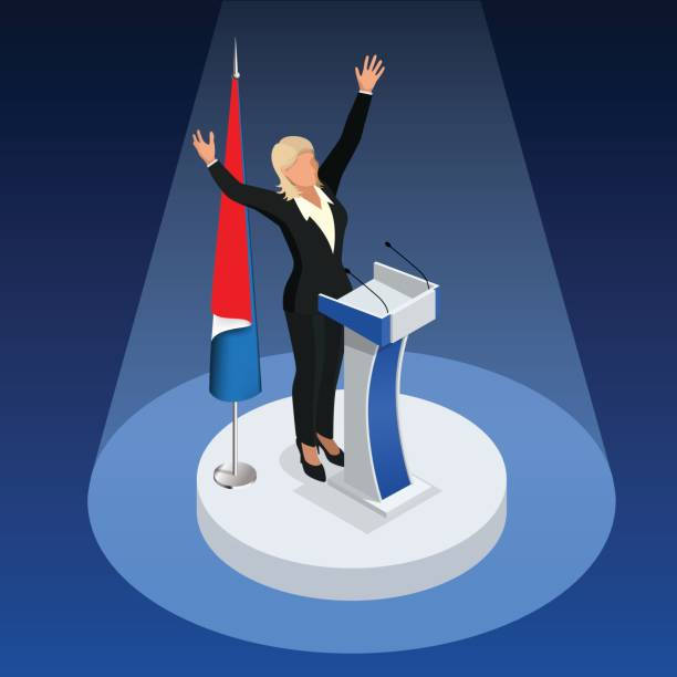 the woman is the winner in the elections. presidential elections in france 2017 - presidential debate stock illustrations