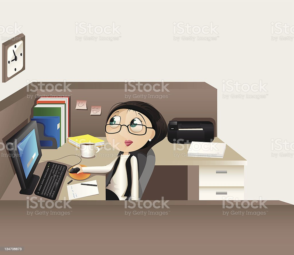 The woman is worked at office royalty-free the woman is worked at office stock vector art & more images of adult