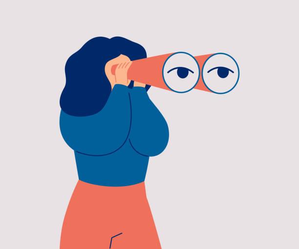 die frau schaut durch ihr großes fernglas und sucht etwas. - sucht stock-grafiken, -clipart, -cartoons und -symbole