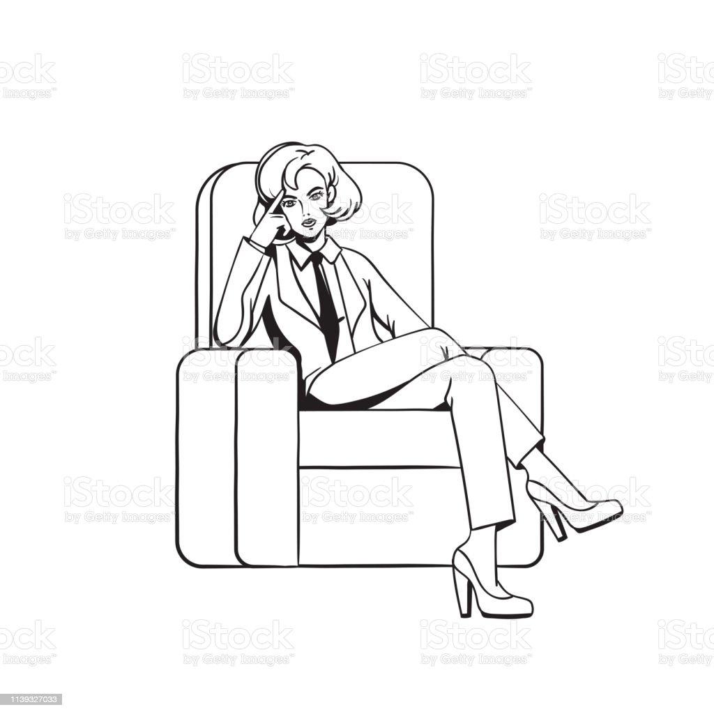 Kadin Sandalyeye Capraz Bacakli Oturur Boyama Sayfasi Stok Vektor
