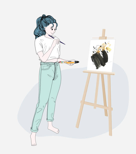 The woman stood drawing watercolor at her home after she had no routine work.Doodle art concept,illustration painting vector art illustration