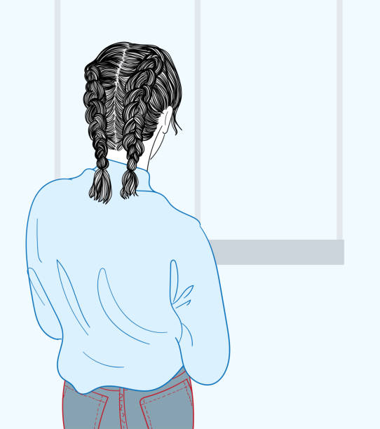 The woman stood looking at the window of his house.Doodle art concept,illustration painting vector art illustration