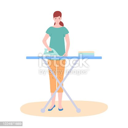 The woman the housewife irons clothes, isolated on white. The concept of home, household, life. Vector illustration of modern style.