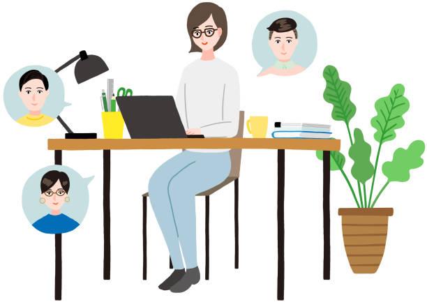illustrazioni stock, clip art, cartoni animati e icone di tendenza di the woman who does remote work, and holds a meeting - solo giapponesi
