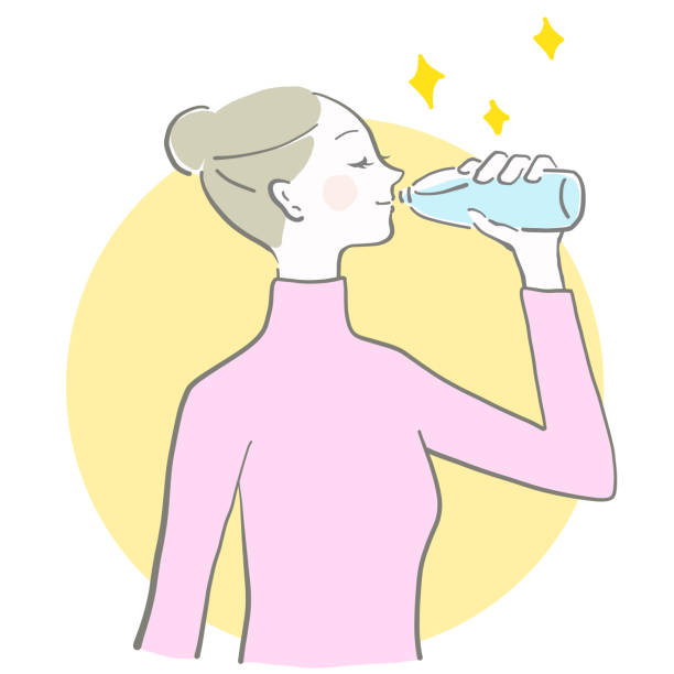 The woman who drinks water vector art illustration