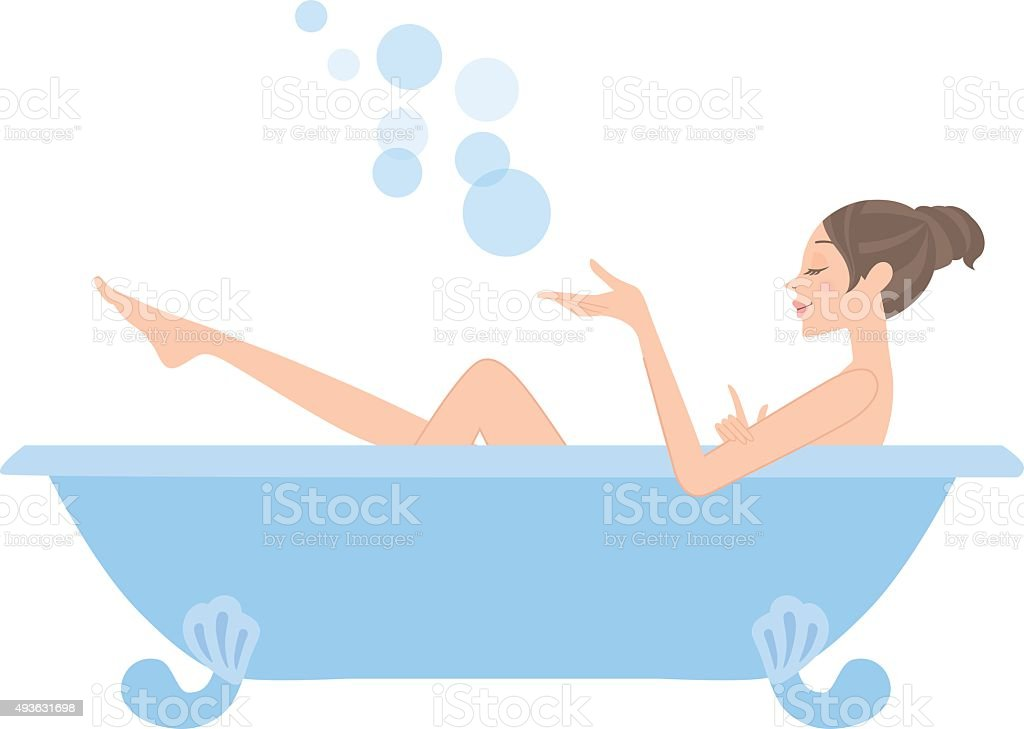 The woman who takes a bath vector art illustration