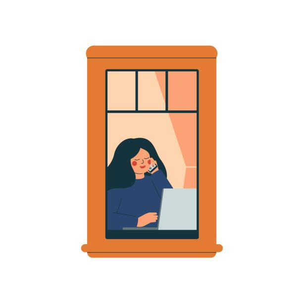 illustrazioni stock, clip art, cartoni animati e icone di tendenza di the woman works from home in a quarantined environment. - lockdown