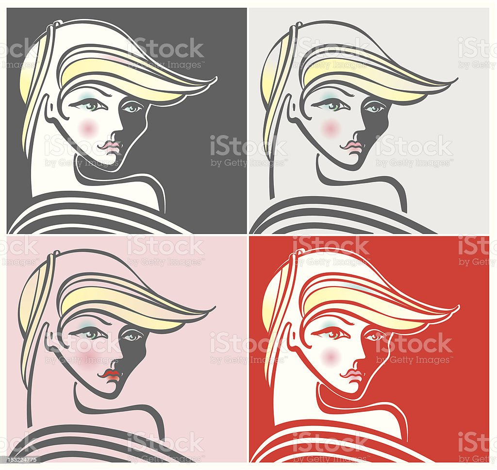 The woman's face. vector art illustration