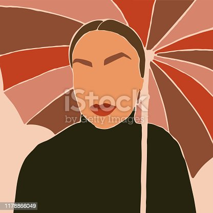 The Woman's Face with umbrellas Minimal Style. Abstract Contemporary collage in a modern trendy style. Vector Portrait of a female. For Beauty Concept, t-Shirt Print, card, poster, social media post
