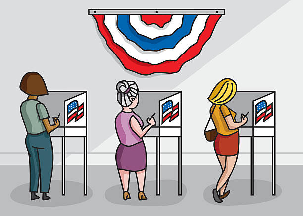 The Women's Vote American women at voting booths in their local polling place. women's suffrage stock illustrations