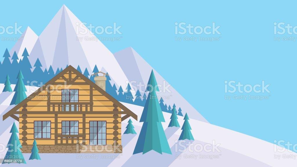 the wood house vector art illustration
