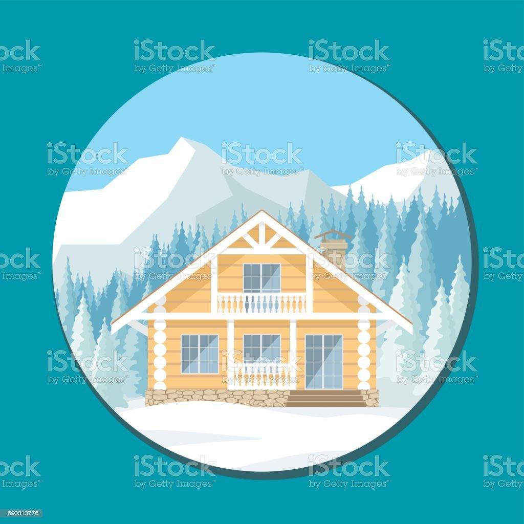 the wooden cottage vector art illustration