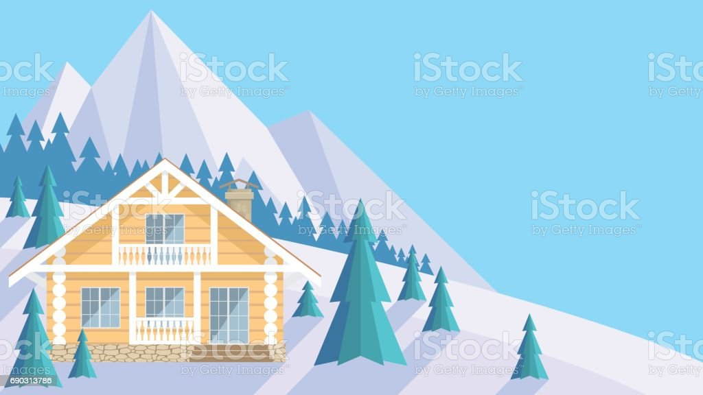the wooden house vector art illustration