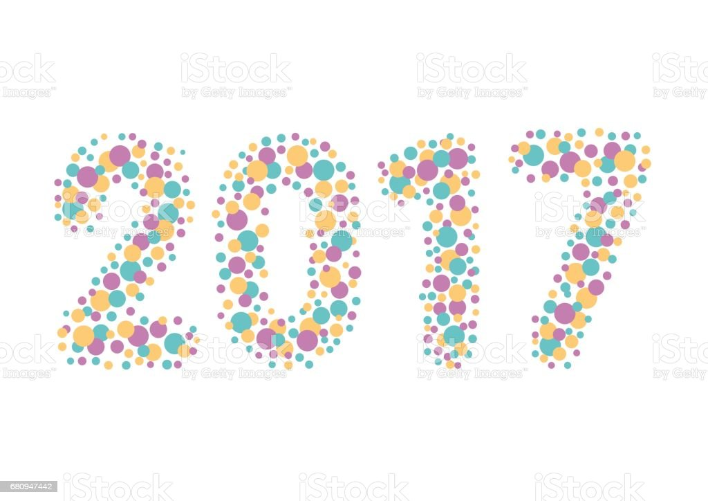 The word 2017. Vector banner with the text with circles colored royalty-free the word 2017 vector banner with the text with circles colored stock vector art & more images of 2017