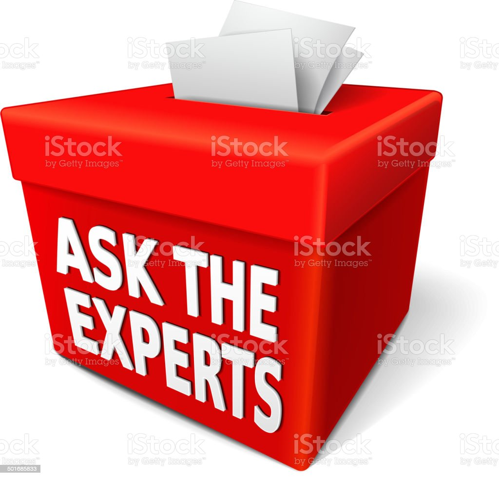 the word ask the experts on the red box royalty-free stock vector art