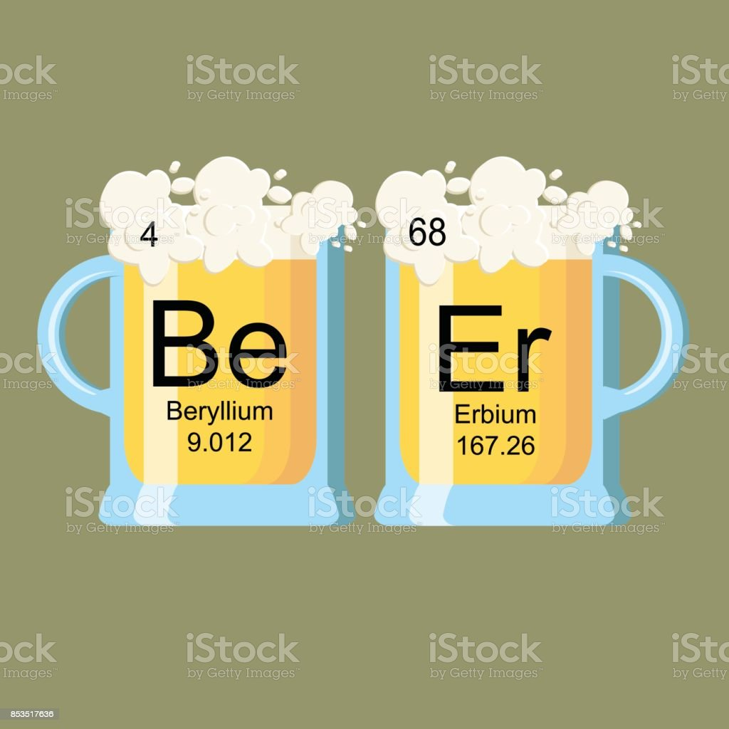 The Word Beer Made Of Chemical Elements Beryllium And Erbium Stock