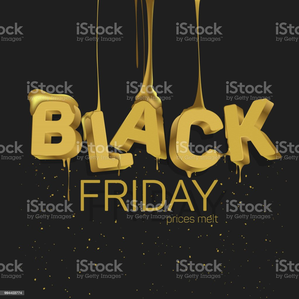The Word Black Friday In The Style Of 3d Gold Color With Flowing