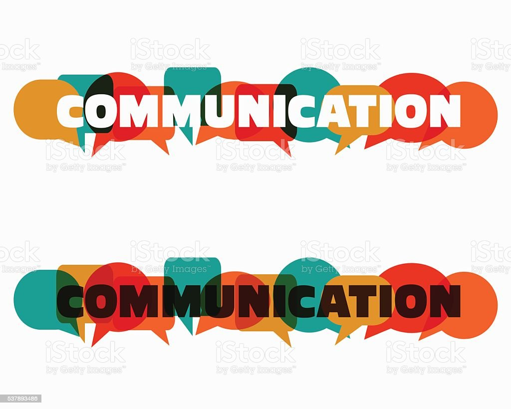 The Word Communication With Colorful Dialog Speech Bubbles