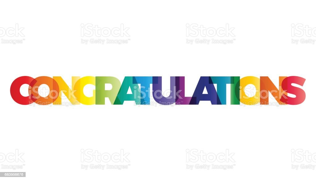the word congratulations vector banner with the text colored rainbow