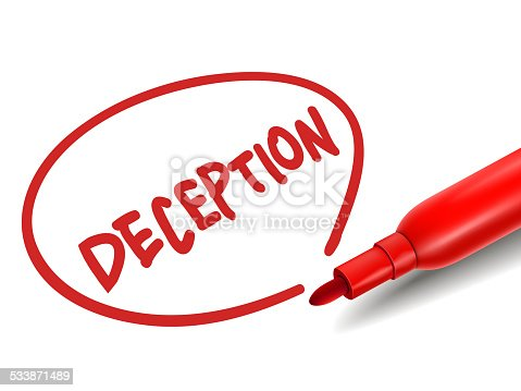 the word deception with a red marker over white