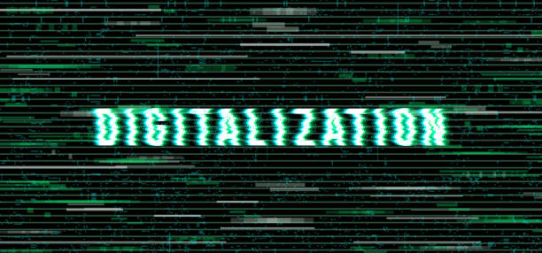 The word Digitalization in a distorted glitch style Design element for web pages, print assets, advertising, branding, shares, promotion. Distorted letters over the glitch art background. Vector illustration. digitized stock illustrations