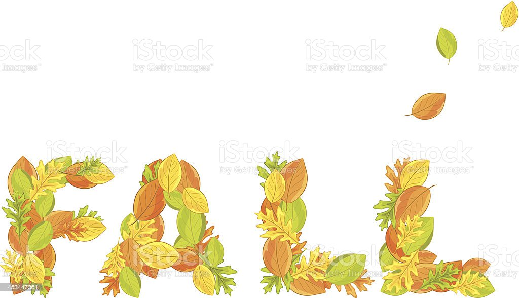 the word fall made of leaves stock vector art more images of