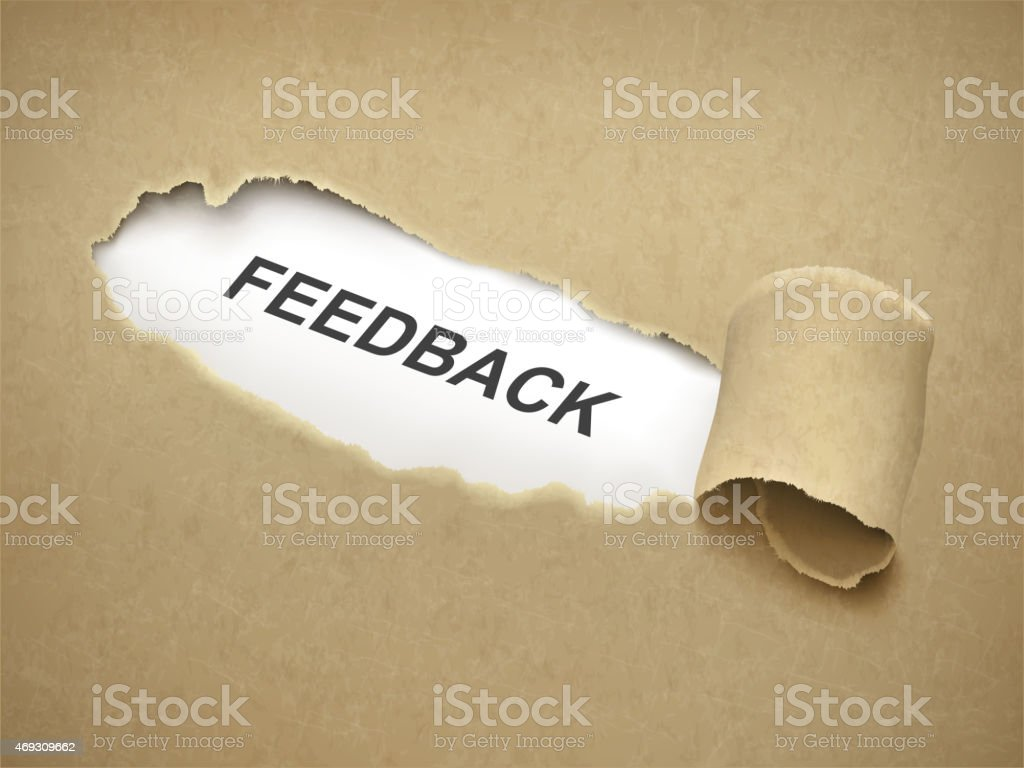 the word feedback behind torn paper vector art illustration