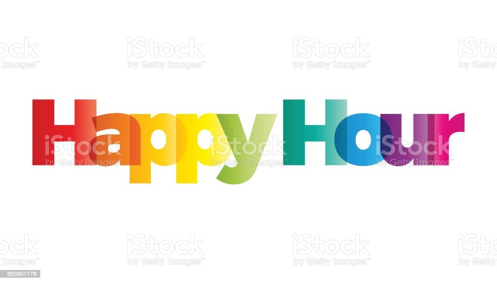 The word happy hour. Vector banner with the text colored rainbow. vector art illustration