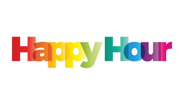 the word happy hour. vector banner with the text colored rainbow. - happy hour stock illustrations, clip art, cartoons, & icons