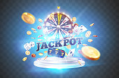 The word Jackpot, surrounded by a luminous frame and attributes of gambling, on the podium, on a explosion coins background. The new, best design of the luck banner, for gambling, casino