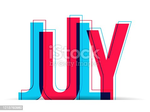 istock The Word July isolated on a white background 1213760980