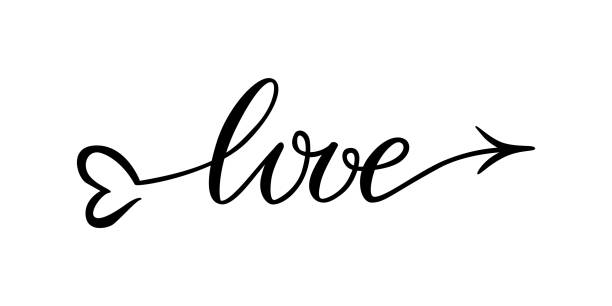 Download Silhouette Of The Word Love In Cursive Illustrations ...