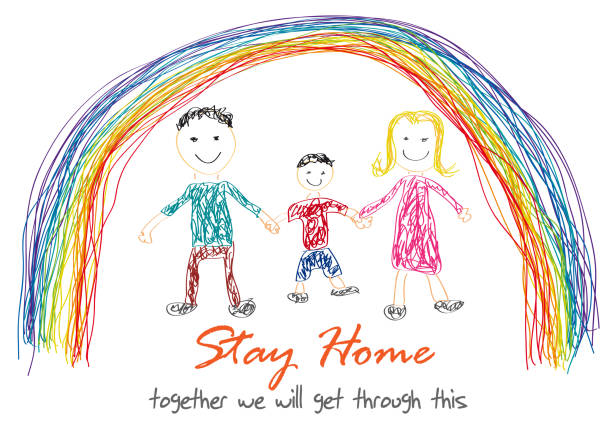 The word Stay Home, save you by coronavirus. Vector drawing made by a child. Family inside rainbow The word Stay Home, save you by coronavirus. Vector drawing made by a child. Family inside rainbow illness prevention stock illustrations