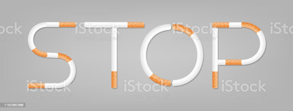 the word stop spelled using cigarettes, stop smoking, stop cigarette...