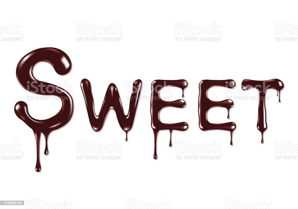 the word Sweet written by liquid chocolate on white background vector art illustration