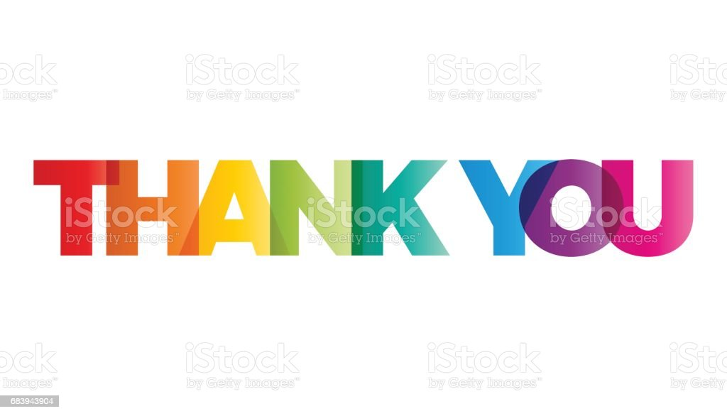 The word Thank you. Vector banner with the text colored rainbow. - Векторная графика Thank You - английское словосочетание роялти-фри