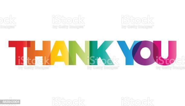 The Word Thank You Vector Banner With The Text Colored Rainbow — стоковая векторная графика и другие изображения на тему Thank You - английское словосочетание