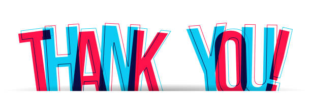 The Word Thank You with overlapped letters Red-Blue letters with a red and blue stroke/outline and shadow at bottom. Overlapped letters isolated on a white background. Vector illustration. alphabet clipart stock illustrations