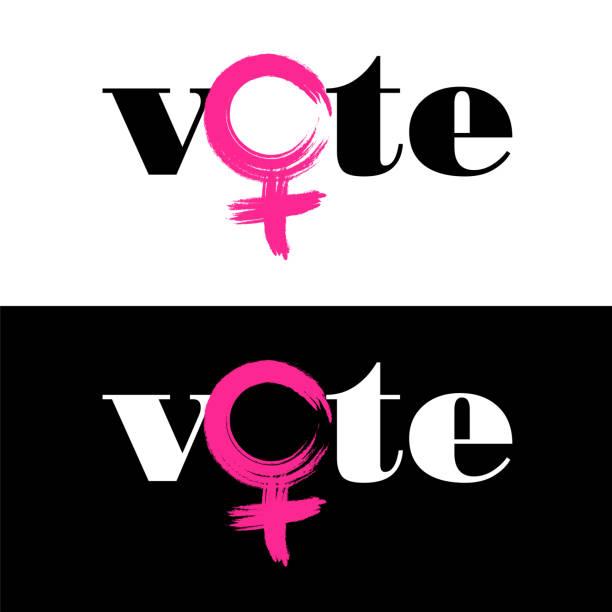stockillustraties, clipart, cartoons en iconen met het woord stemming wordt gecombineerd met vrouwelijke symbool vrouwen om te stemmen in de vs-november 6 tussentijdse verkiezing te stimuleren. - vrouwelijk