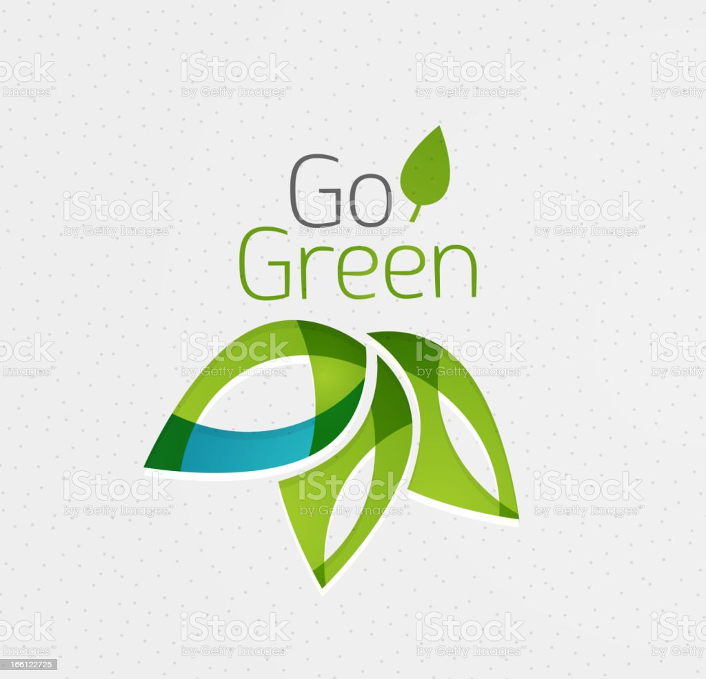 The words go green on a paper background royalty-free stock vector art