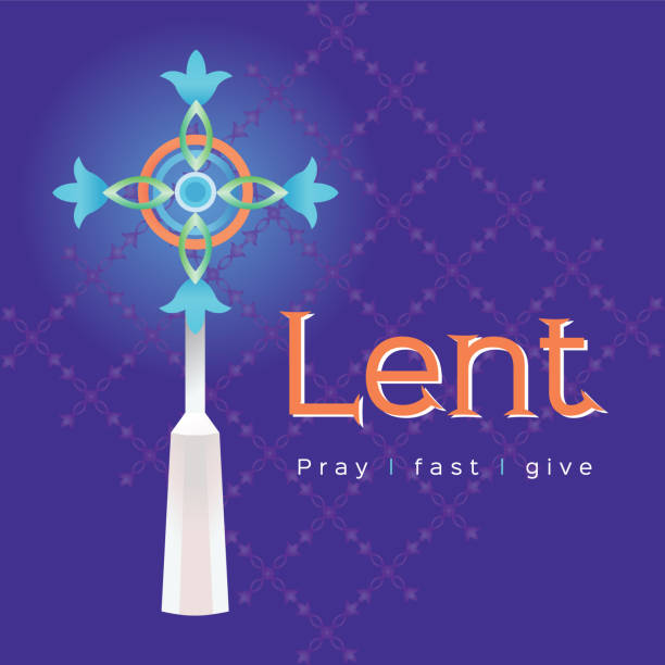 The words Lent pray fast and give with cross The words Lent pray fast and give with cross on purple background lent stock illustrations