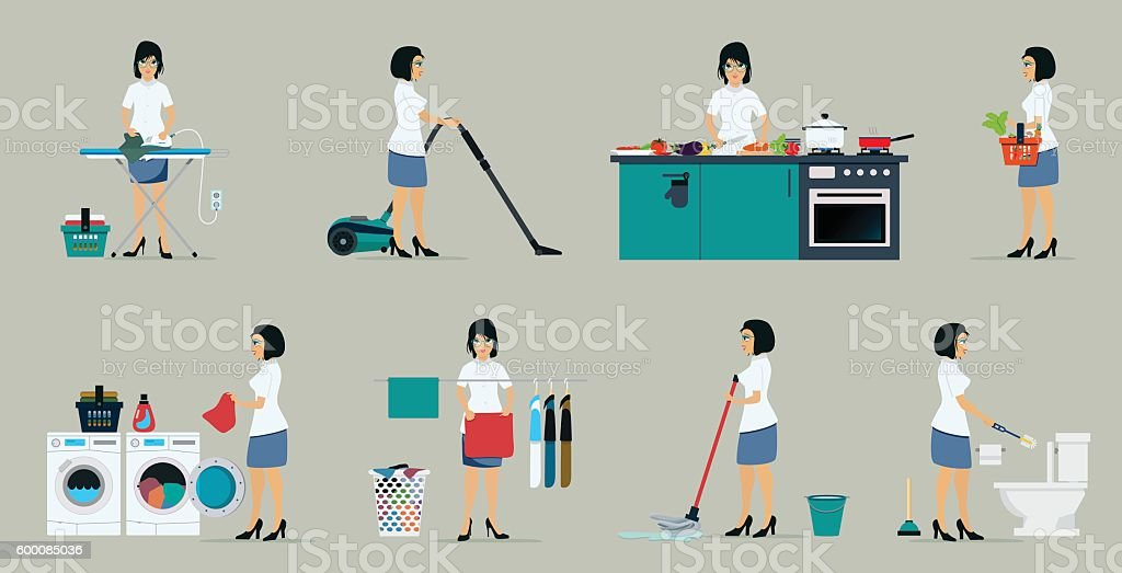 The work of housewives vector art illustration