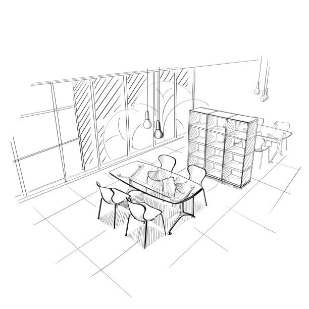 Die Arbeitsplatz-Illustration. – Vektorgrafik