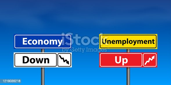 The world economy is in decline and unemployment is rising. Pointers against a background of blue sky and light clouds. Road sign with inscriptions.