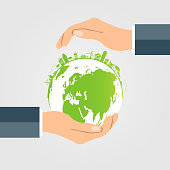 The world in your hands ecology concept.Green cities help the world with eco-friendly concept idea.with globe and tree background.vector illustration