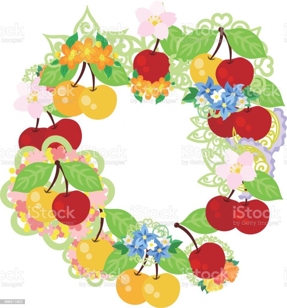 The wreath of cherries the wreath of cherries - immagini vettoriali stock e altre immagini di arte royalty-free