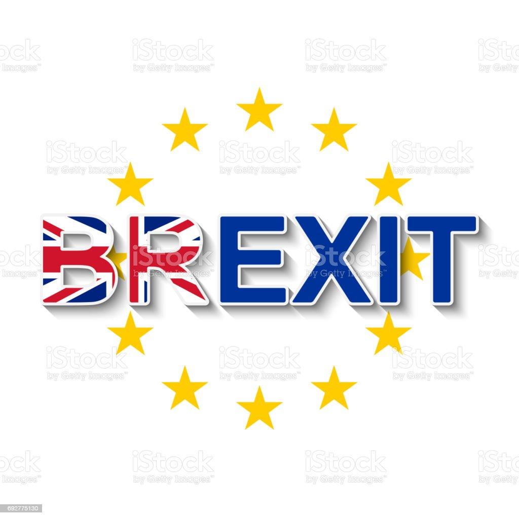 BREXIT e a coroa de estrelas da União Europeia - retirada do Reino Unido da UE. - ilustração de arte em vetor