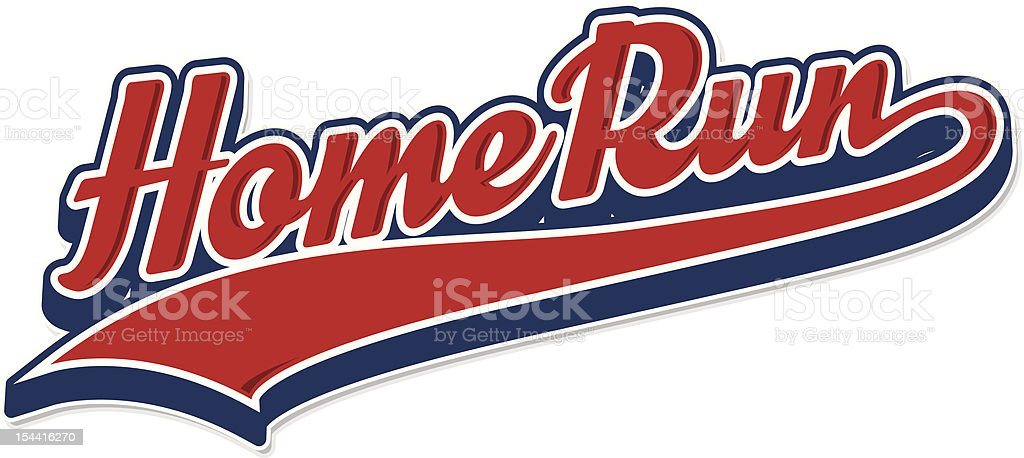 The writing home run in red and blue vector art illustration